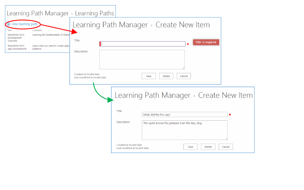 Learning Path Manager create new item